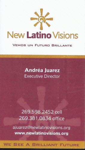Business card from New Latino Visions