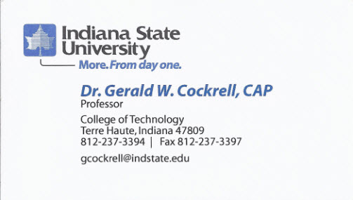 Business card from Indiana State University