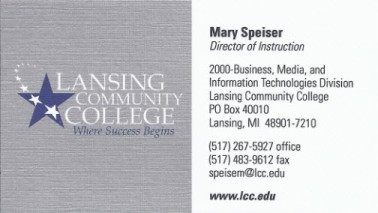 business card from Lansing Community College