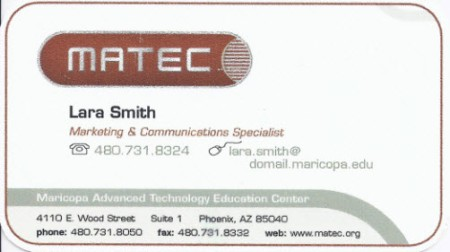 Business card for MATEC